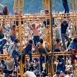 The sound tower, Woodstock Fest. '69.  Photo By �Elliott Landy, LandyVision Inc.